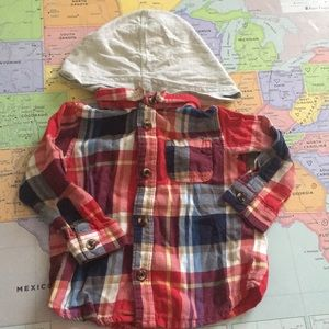 Infant flannel shirt hooded grunge style!